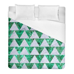 Triangle2 White Marble & Green Marble Duvet Cover (full/ Double Size) by trendistuff