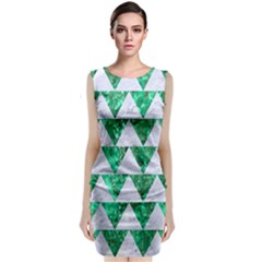 Triangle2 White Marble & Green Marble Classic Sleeveless Midi Dress