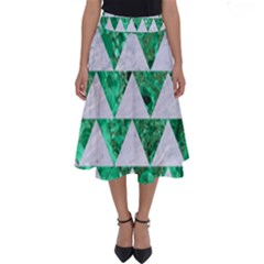 Triangle2 White Marble & Green Marble Perfect Length Midi Skirt