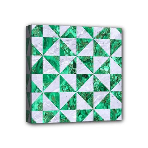 Triangle1 White Marble & Green Marble Mini Canvas 4  X 4