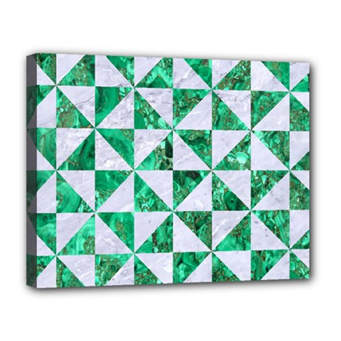 Triangle1 White Marble & Green Marble Canvas 14  X 11