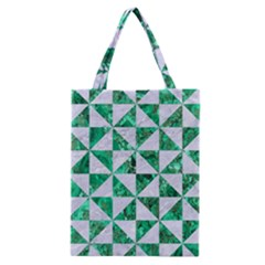 Triangle1 White Marble & Green Marble Classic Tote Bag