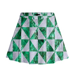 Triangle1 White Marble & Green Marble Mini Flare Skirt