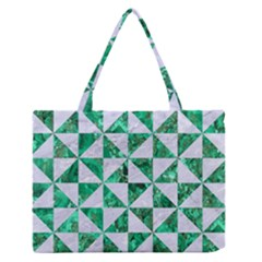 Triangle1 White Marble & Green Marble Zipper Medium Tote Bag