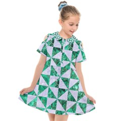 Triangle1 White Marble & Green Marble Kids  Short Sleeve Shirt Dress