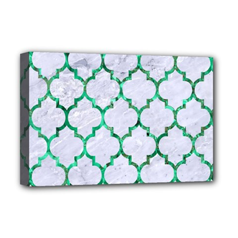 Tile1 (r) White Marble & Green Marble Deluxe Canvas 18  X 12