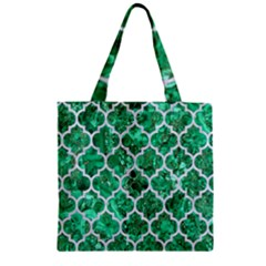 Tile1 White Marble & Green Marble Zipper Grocery Tote Bag by trendistuff