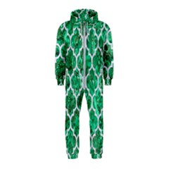 Tile1 White Marble & Green Marble Hooded Jumpsuit (kids)