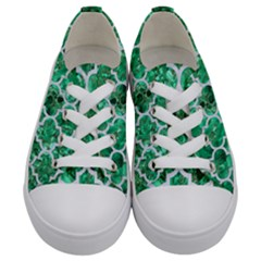 Tile1 White Marble & Green Marble Kids  Low Top Canvas Sneakers