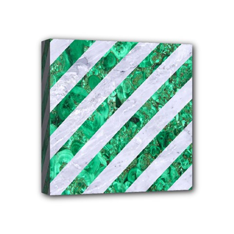 Stripes3 White Marble & Green Marble (r) Mini Canvas 4  X 4