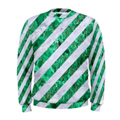 Stripes3 White Marble & Green Marble (r) Men s Sweatshirt