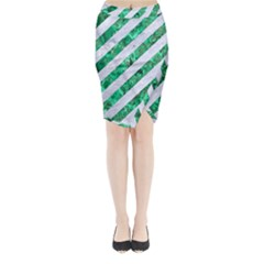 Stripes3 White Marble & Green Marble (r) Midi Wrap Pencil Skirt
