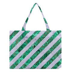 Stripes3 White Marble & Green Marble (r) Medium Tote Bag