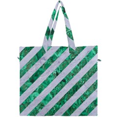 Stripes3 White Marble & Green Marble (r) Canvas Travel Bag by trendistuff