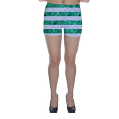 Stripes2 White Marble & Green Marble Skinny Shorts
