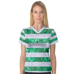 Stripes2 White Marble & Green Marble V Neck Sport Mesh Tee