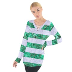 Stripes2 White Marble & Green Marble Tie Up Tee