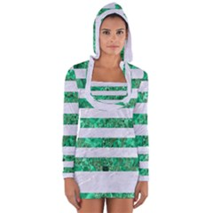 Stripes2 White Marble & Green Marble Long Sleeve Hooded T Shirt