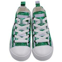 Stripes2 White Marble & Green Marble Kid s Mid Top Canvas Sneakers