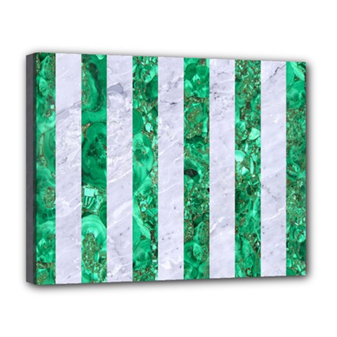 Stripes1 White Marble & Green Marble Canvas 14  X 11