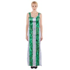 Stripes1 White Marble & Green Marble Maxi Thigh Split Dress by trendistuff