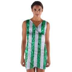 Stripes1 White Marble & Green Marble Wrap Front Bodycon Dress