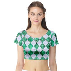 Square2 White Marble & Green Marble Short Sleeve Crop Top