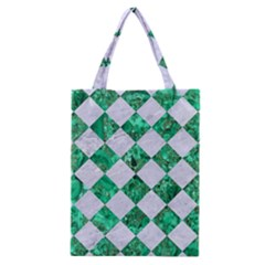 Square2 White Marble & Green Marble Classic Tote Bag