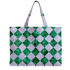 Square2 White Marble & Green Marble Zipper Mini Tote Bag