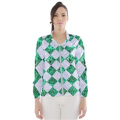 Square2 White Marble & Green Marble Windbreaker (women)