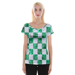 Square1 White Marble & Green Marble Cap Sleeve Tops
