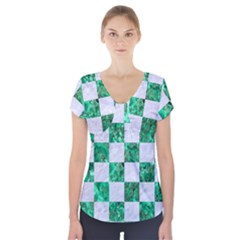 Square1 White Marble & Green Marble Short Sleeve Front Detail Top