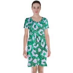 Skin5 White Marble & Green Marble (r) Short Sleeve Nightdress