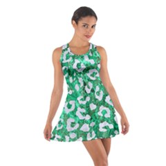 Skin5 White Marble & Green Marble (r) Cotton Racerback Dress