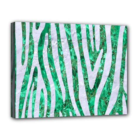Skin4 White Marble & Green Marble (r) Canvas 14  X 11