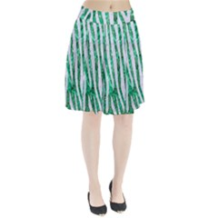 Skin4 White Marble & Green Marble (r) Pleated Skirt