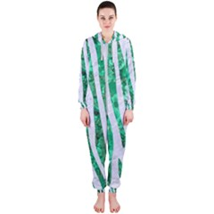 Skin4 White Marble & Green Marble Hooded Jumpsuit (ladies)