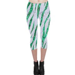 Skin3 White Marble & Green Marble (r) Capri Leggings