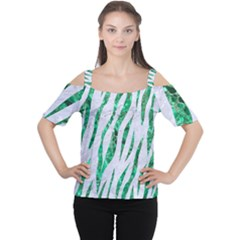 Skin3 White Marble & Green Marble (r) Cutout Shoulder Tee