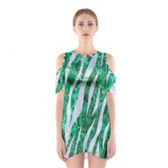 Skin3 White Marble & Green Marble Shoulder Cutout One Piece