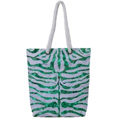 Skin2 White Marble & Green Marble (r) Full Print Rope Handle Tote (small)
