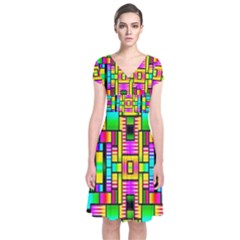 H 7 Short Sleeve Front Wrap Dress