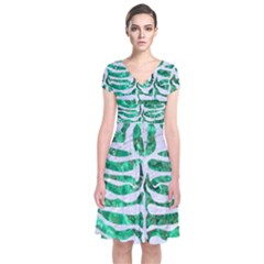 Skin2 White Marble & Green Marble Short Sleeve Front Wrap Dress