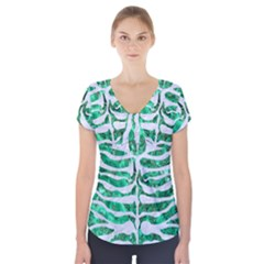 Skin2 White Marble & Green Marble Short Sleeve Front Detail Top