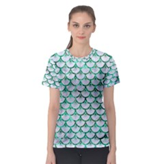 Scales3 White Marble & Green Marble (r) Women s Sport Mesh Tee