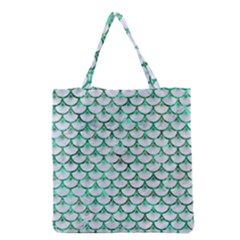 Scales3 White Marble & Green Marble (r) Grocery Tote Bag