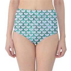 Scales3 White Marble & Green Marble (r) Classic High Waist Bikini Bottoms