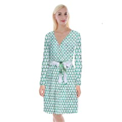 Scales3 White Marble & Green Marble (r) Long Sleeve Velvet Front Wrap Dress by trendistuff