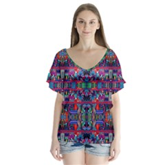 H 7 V Neck Flutter Sleeve Top