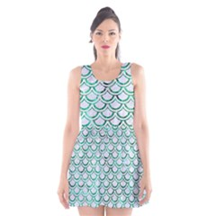 Scales2 White Marble & Green Marble (r) Scoop Neck Skater Dress